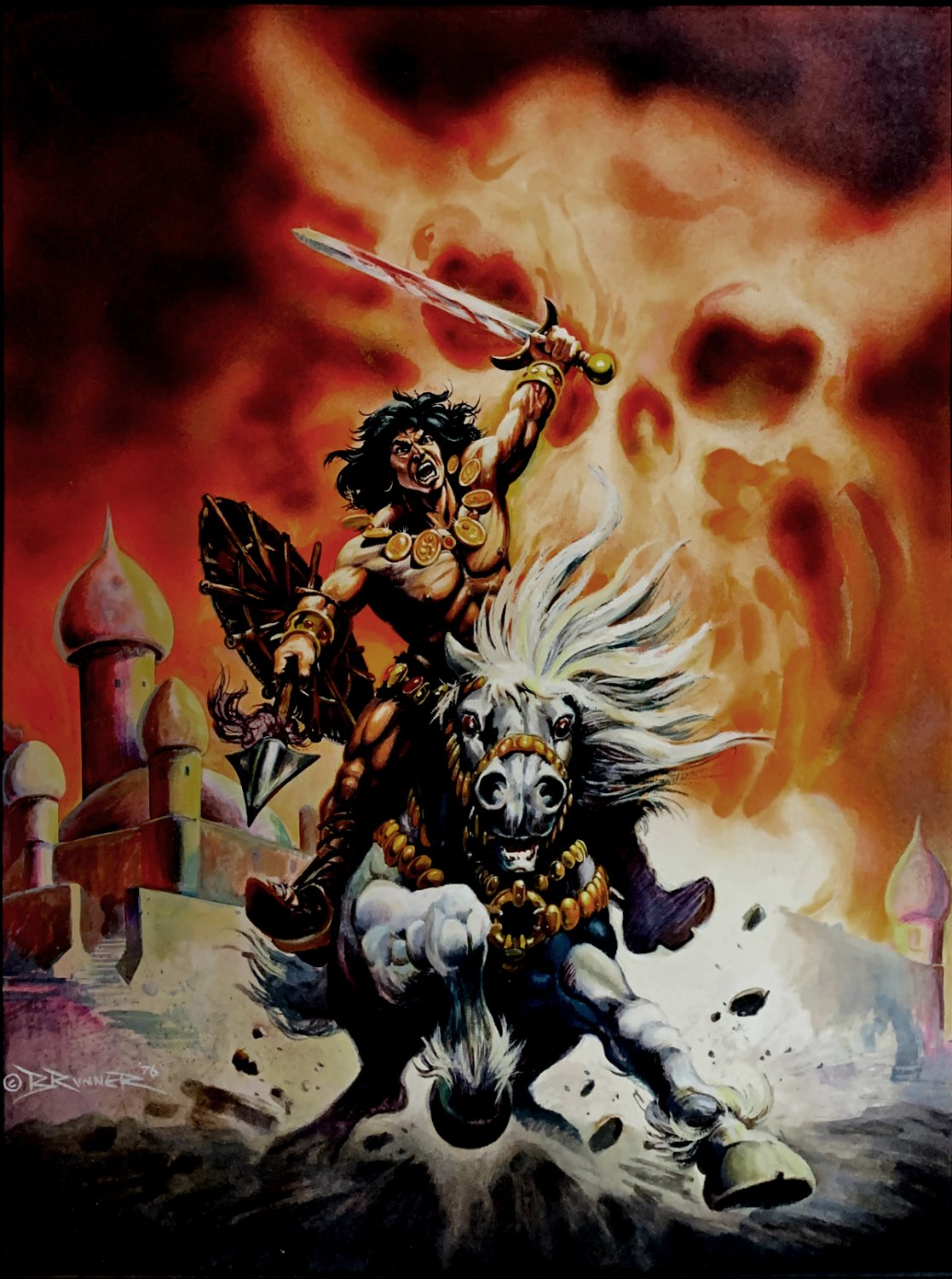 Savage Sword of Conan #8 & Conan Saga #32 Stunning 'RARE EARLY' Cover Painting Also Used For A Poster (LARGE ART) 1975