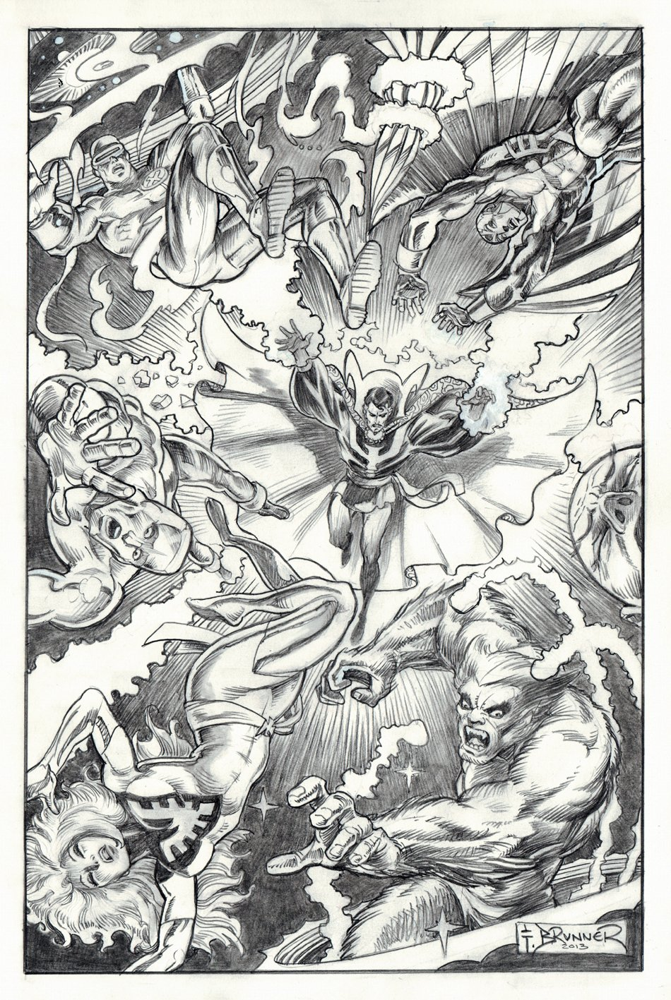 Dr. Strange Battles '6' X-Men Commission Pinup (Large Art) 2012