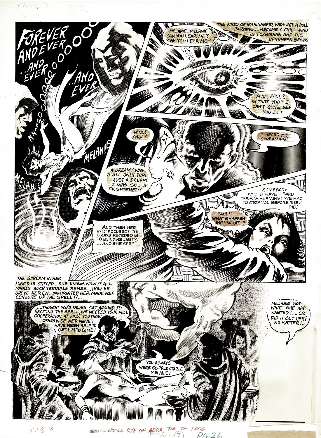 Vampirella #10 p 7 (Last Horror Page To Story!) Large Art - 1971