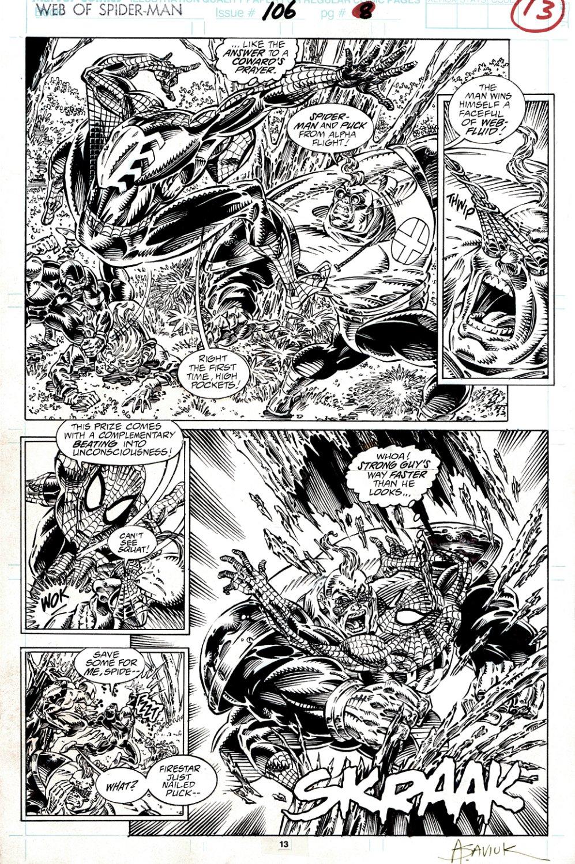 Web of Spider-Man #106 p 13 (SPIDER-MAN & PUCK BATTLING STRONG GUY & FIRESTAR! COVER SCENE!) 1993