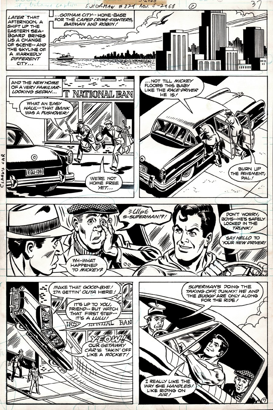 Superman #329 p 7 (Superman Takes Robbers For An Amazing Car Ride!) 1978