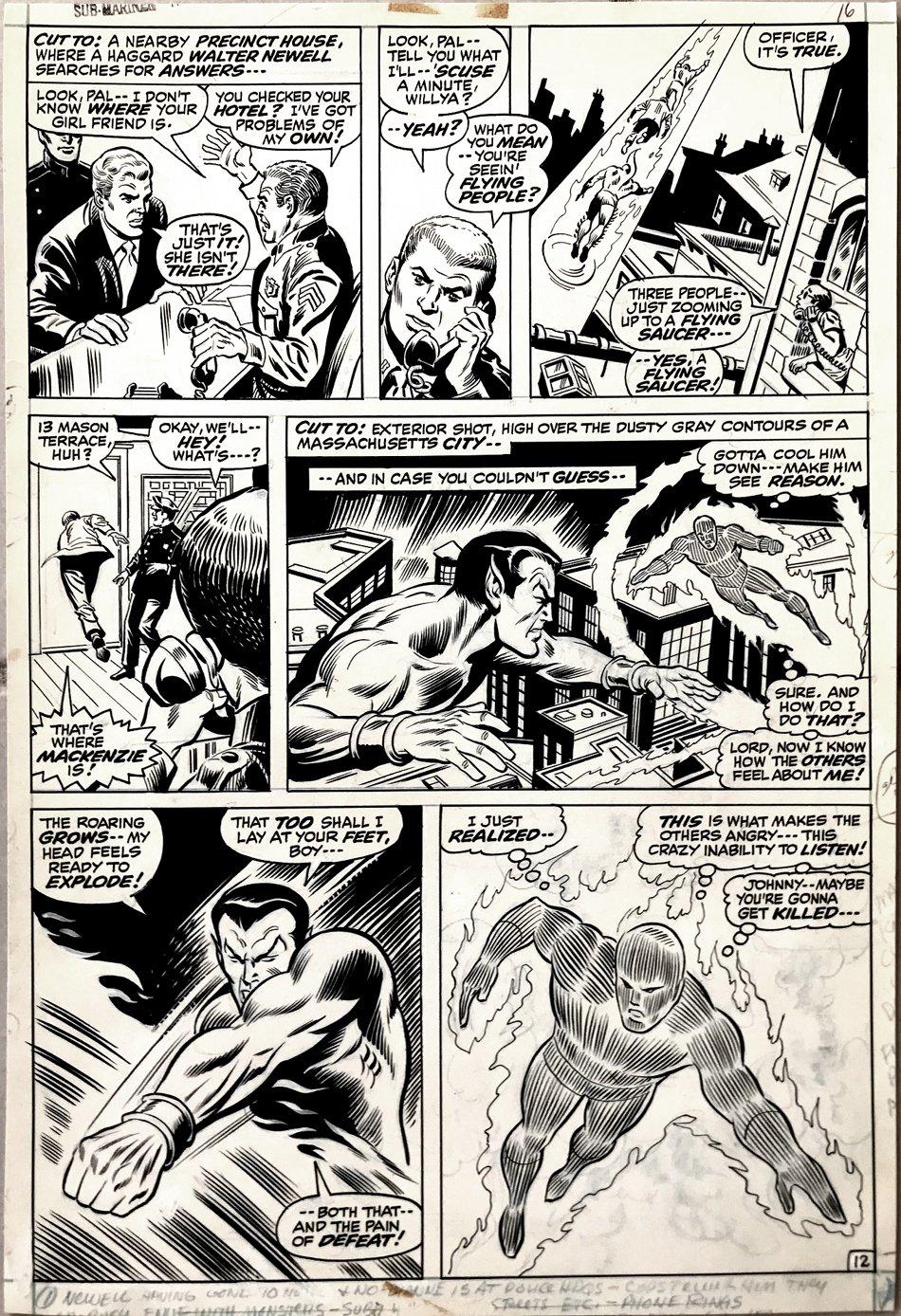 Sub-Mariner #44 p 12 (Sub-Mariner Battles Human Torch!) 1971