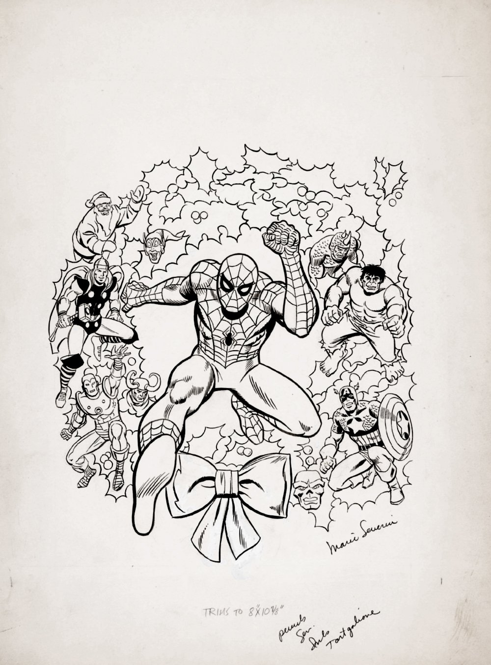 Marvel Christmas Coloring Book Cover (Spider-Man, Iron Man, Thor, Hulk, Captain America, Green Goblin, Loki, Red Skull, Rhino, Santa!) 1984