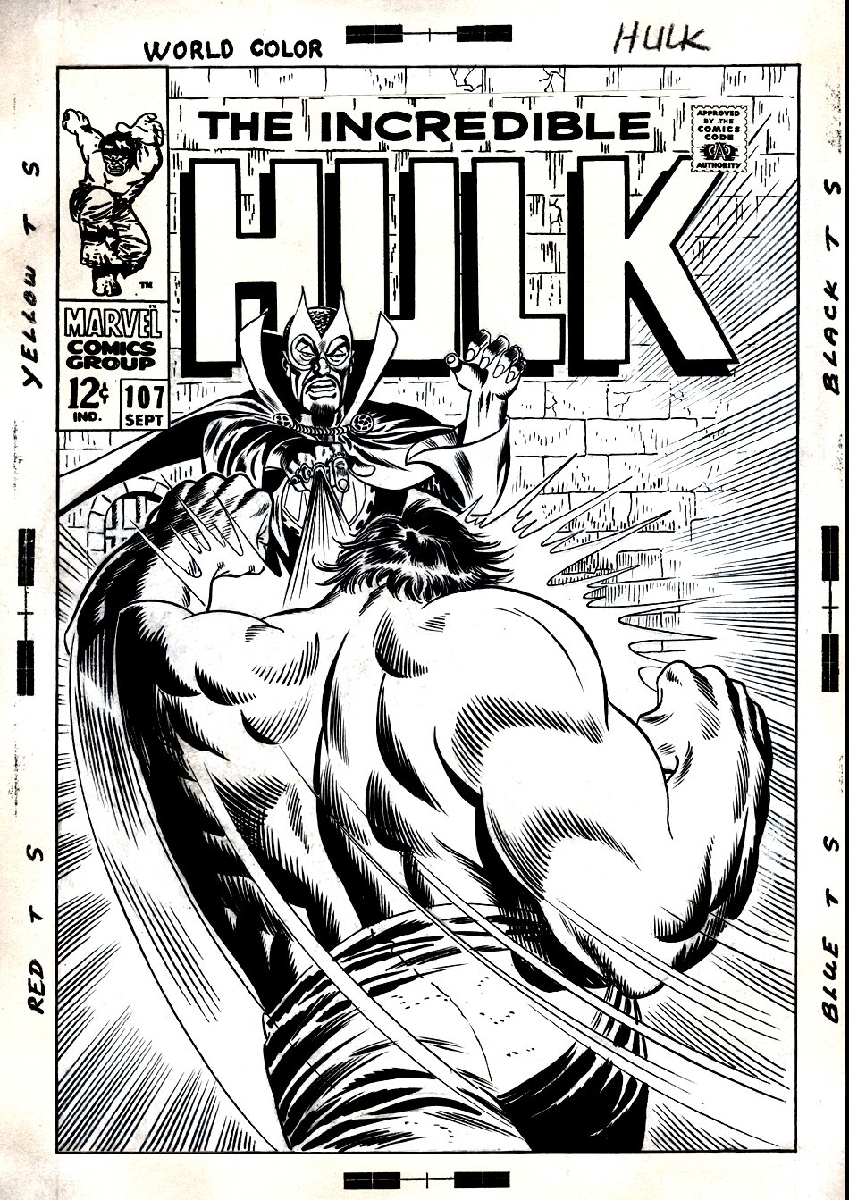 Incredible Hulk #107 Cover (Unused) 1968