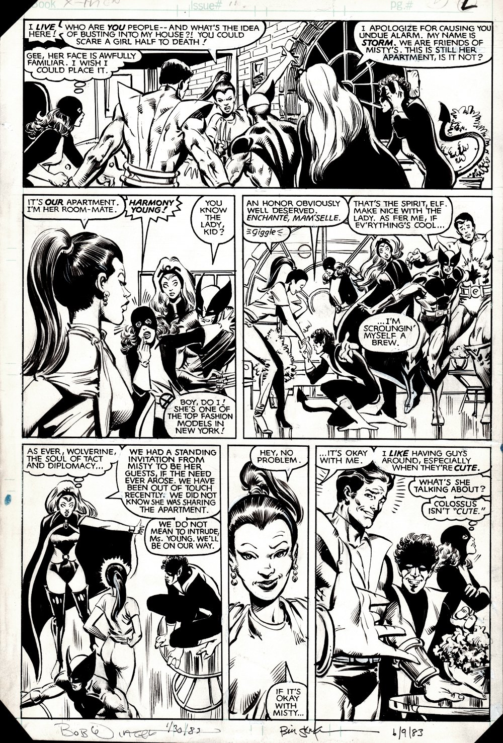 Uncanny X-Men #159 p 2 (BILL SIENKIEWICZ Drawn: Storm, Wolverine, Colossus, Nightcrawler, Kitty Pryde!) 1982