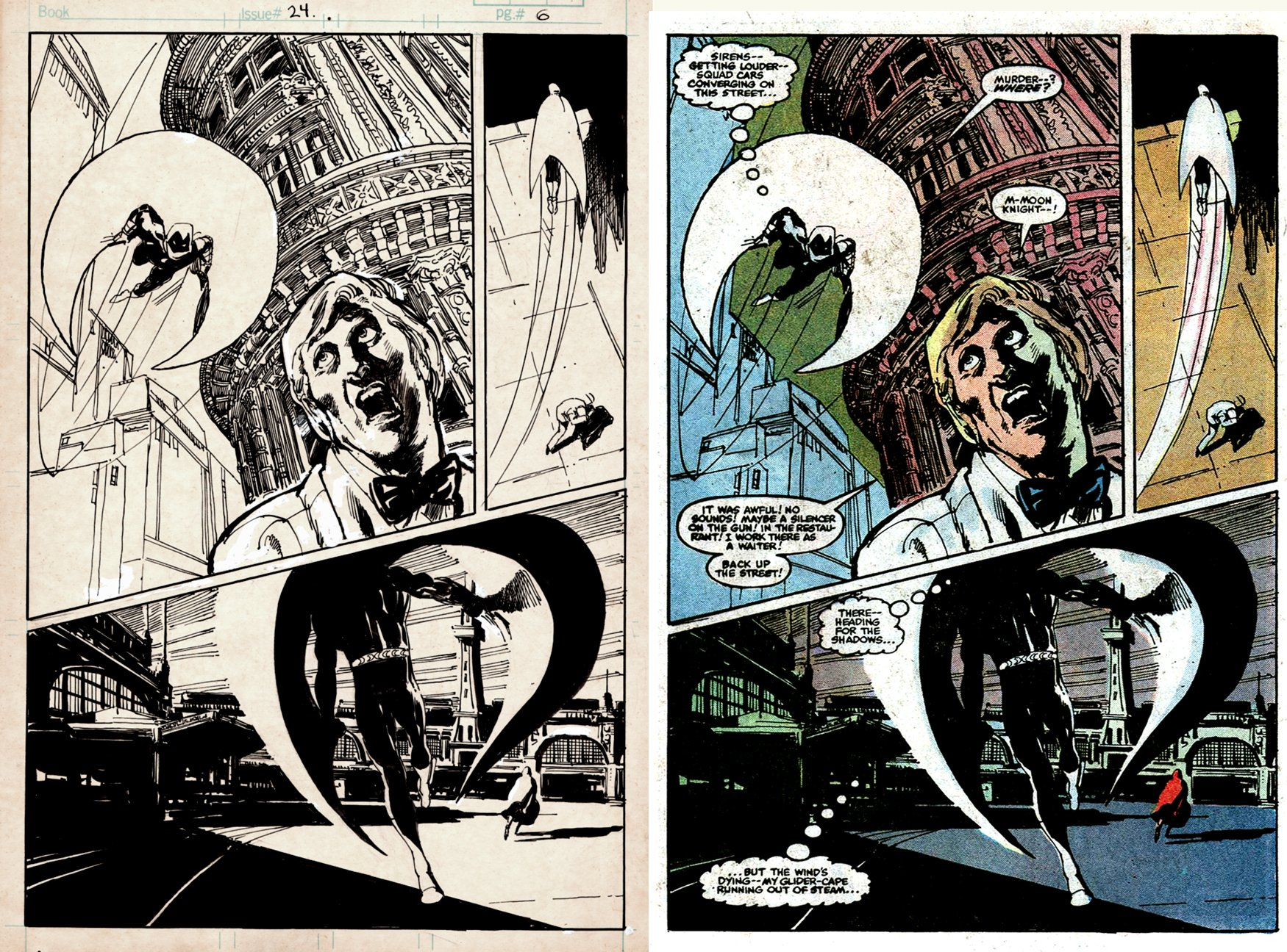 Moon knight #24 p 6 SPLASH (SOLD LIVE ON 'DUELING DEALERS OF COMIC ART' EPISODE #15 PODCAST ON 5-1-2021 (RE-WATCH OUR LIVE ART SELLING PODCAST HERE)