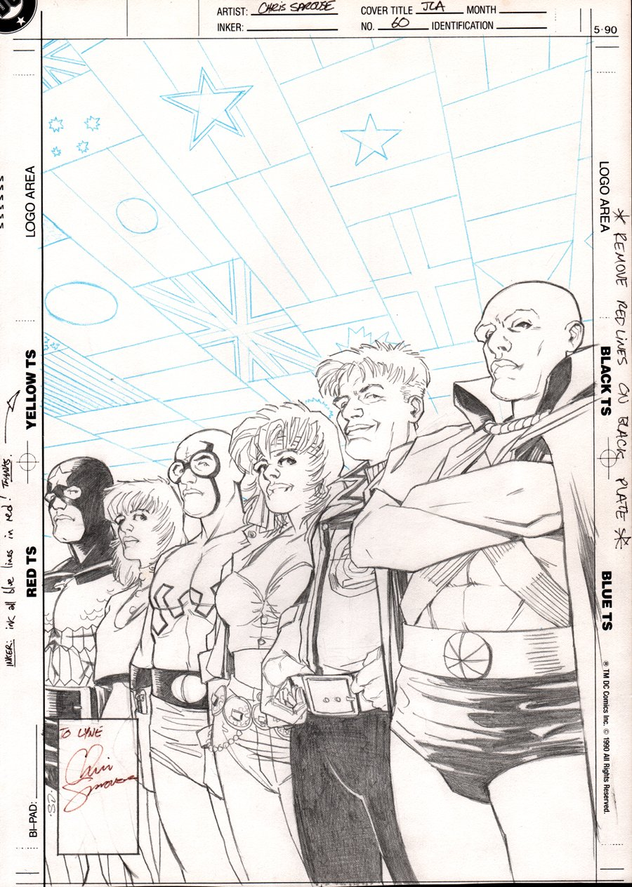 Justice League America #60 Unpublished Cover (VERY SIMILAR TO PUBLISHED COVER!) 1991