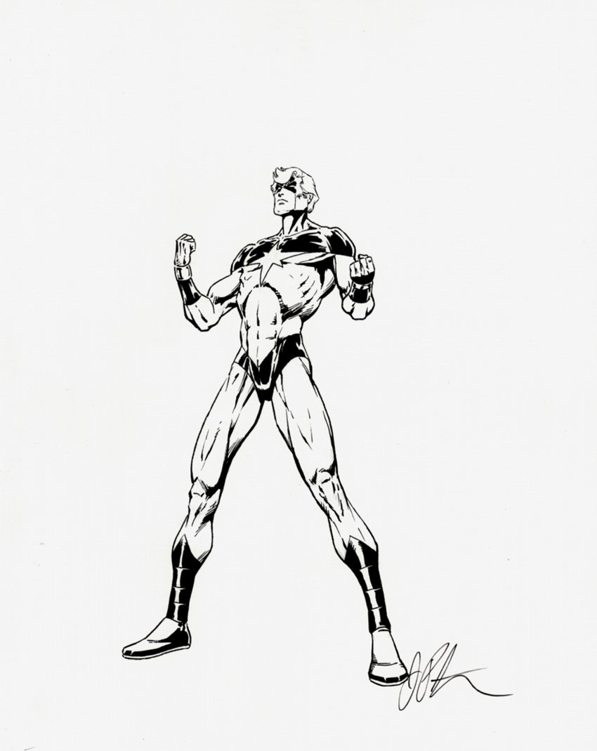 Captain Marvel Pinup (SOLD LIVE ON 'DUELING DEALERS OF COMIC ART' EPISODE #31 PODCAST ON 8-14-2021(RE-WATCH THIS FUNNY ART SELLING SHOW HERE)