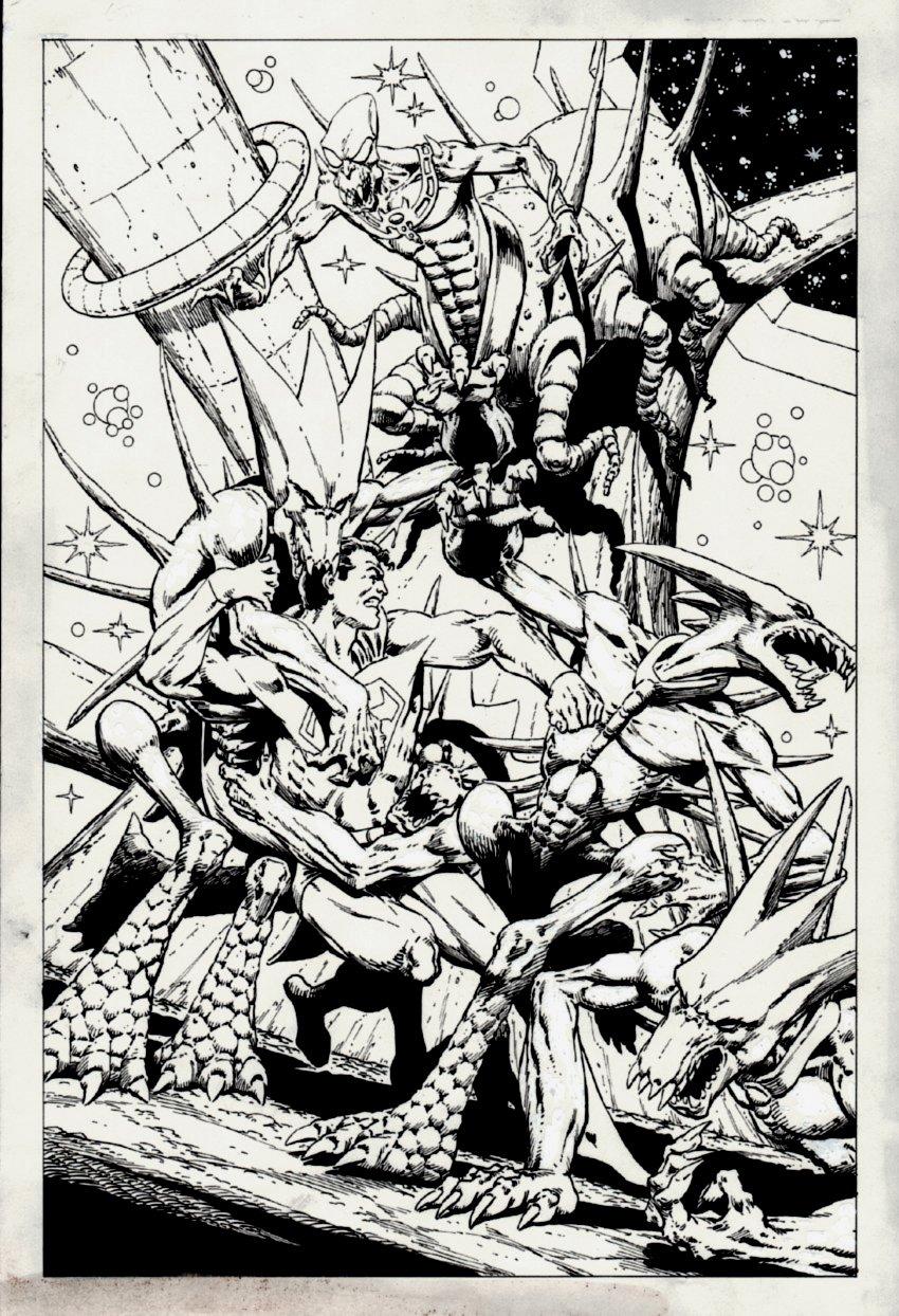 Superman Battling Aliens Poster / Pinup (Undated)