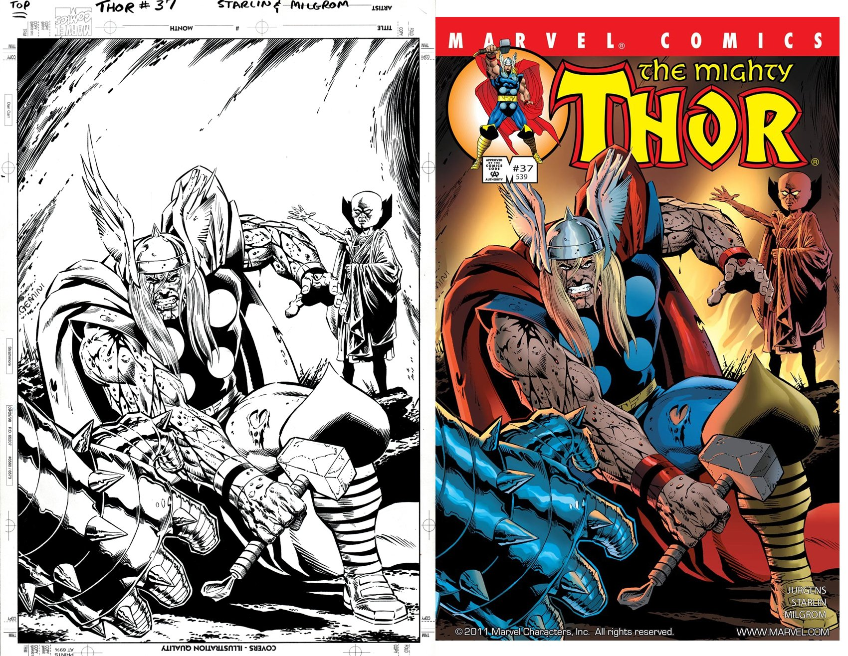 Thor #37 Cover (SOLD LIVE ON 'DUELING DEALERS OF COMIC ART' EPISODE #7 PODCAST ON 3-10-2021 (RE-WATCH OUR LIVE ART SELLING PODCAST HERE!)