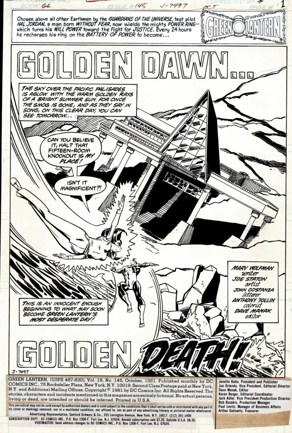 Green Lantern #145 p 1 Splash ( Green Lantern & Carol Ferris) 1981