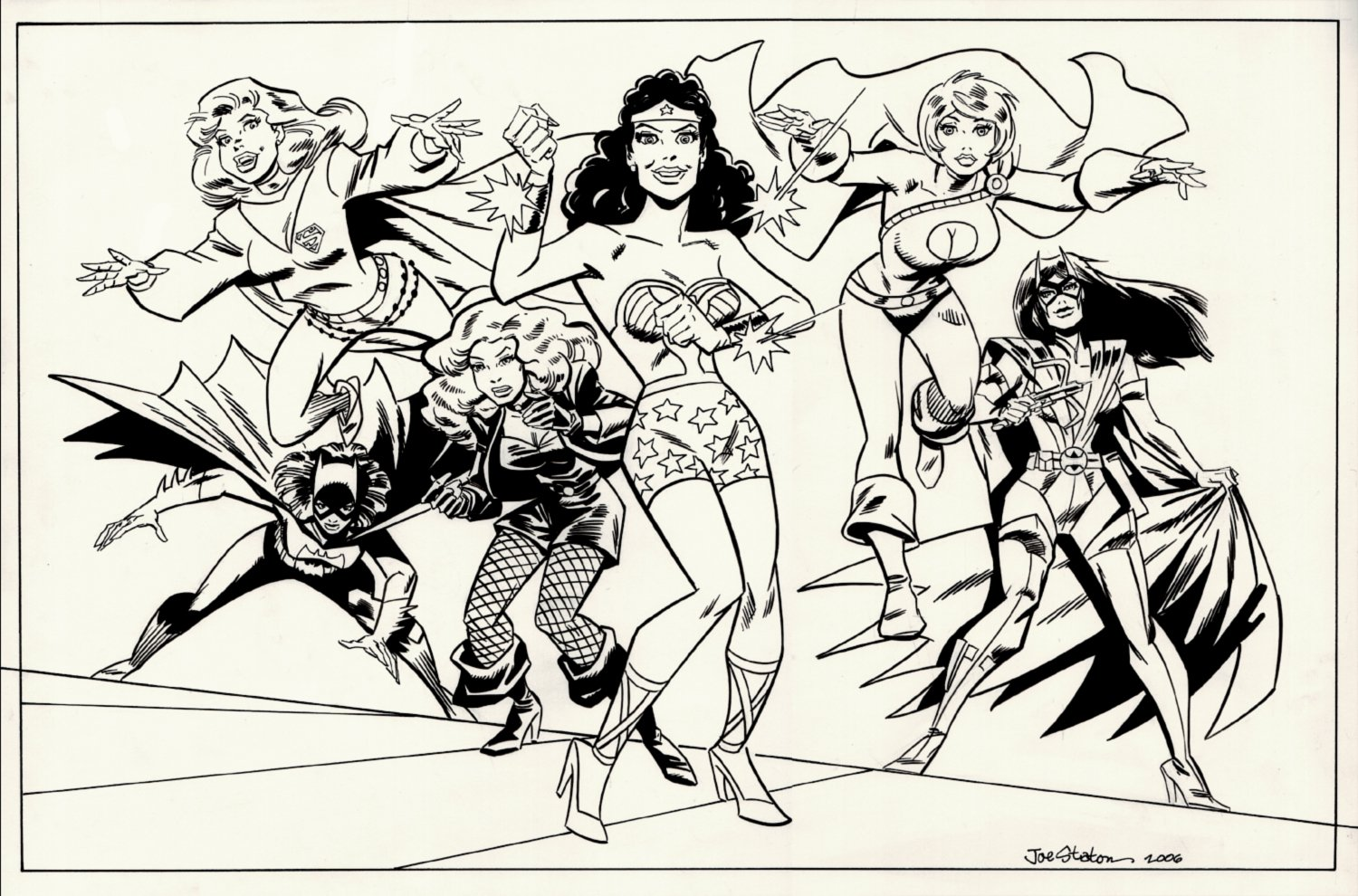 DC Female Heroes Large Pinup (Wonder Woman, Supergirl, Black Canary, Batgirl, Power Girl, Huntress!) 2006