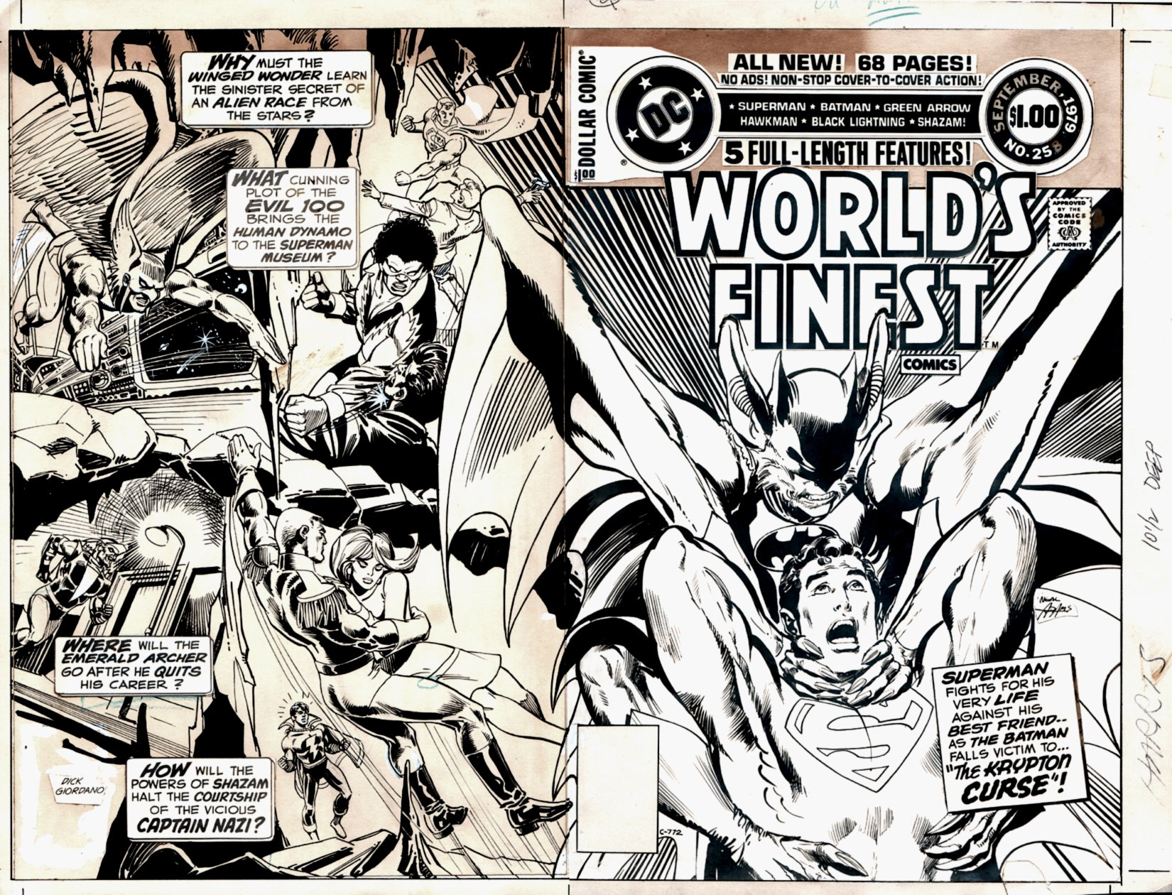 World's Finest Comics #258 Cover (Original Back Cover Art, Production Stat Front Cover, All On 1 Large Board!) 1979