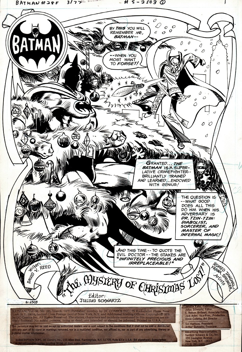 Batman #285 p 1 SPLASH (GREAT CHRISTMAS THEMED BATMAN BATTLE SPLASH!) 1976