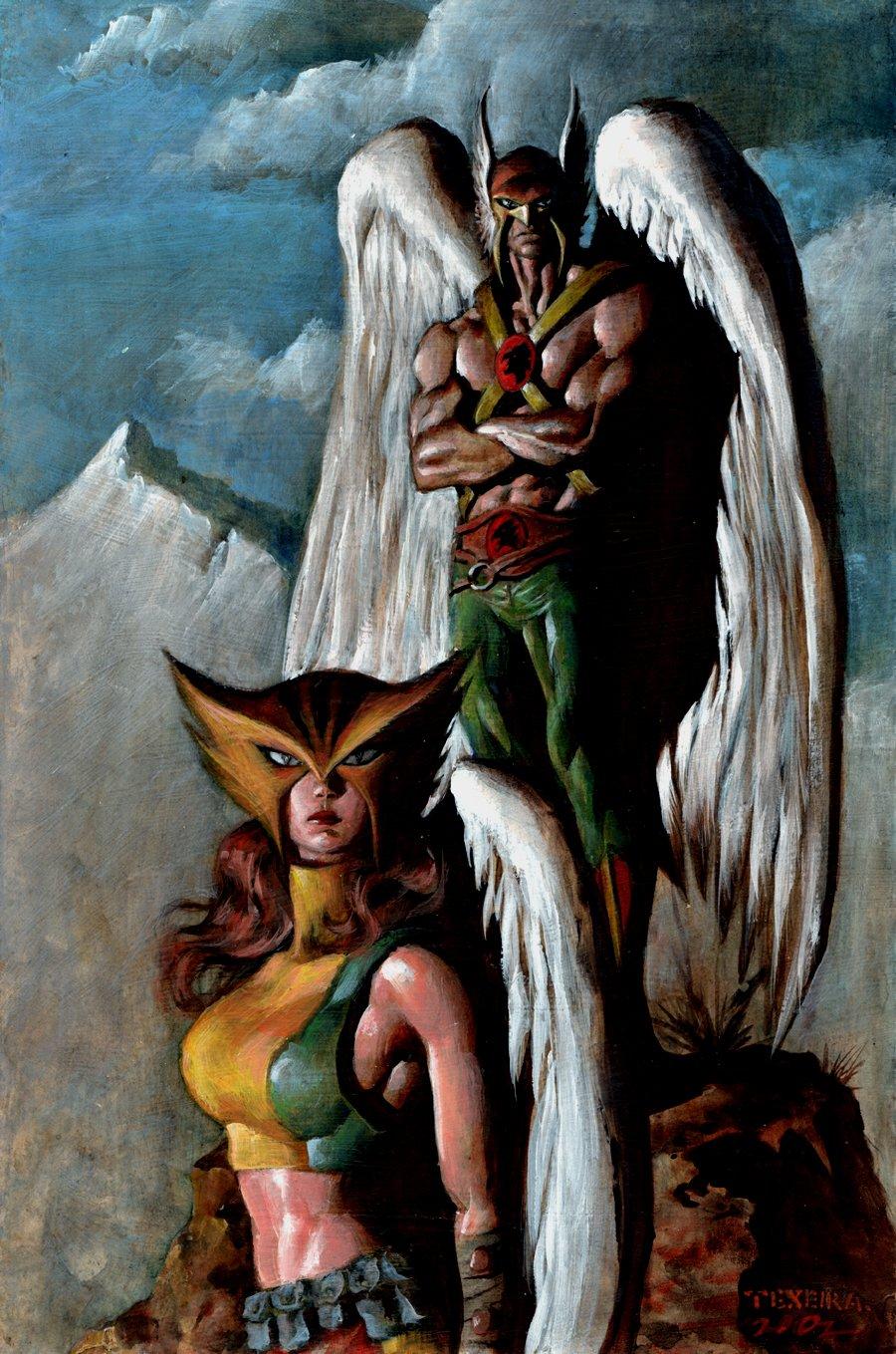 Hawkman & Hawkgirl Full Painting (2002)