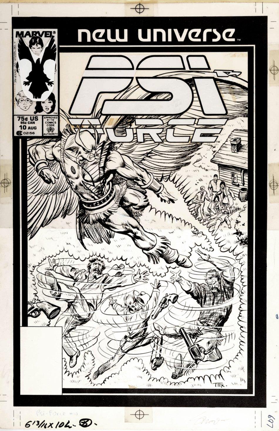 Psi-Force #10 Cover (Psi-Force Battling Psi-Hawk!) 1987