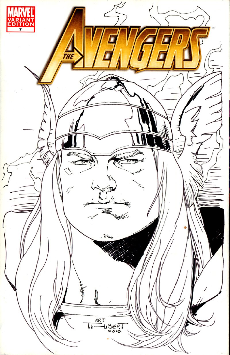 Avengers #7 'DETAILED THOR' Sketch Cover (2013)