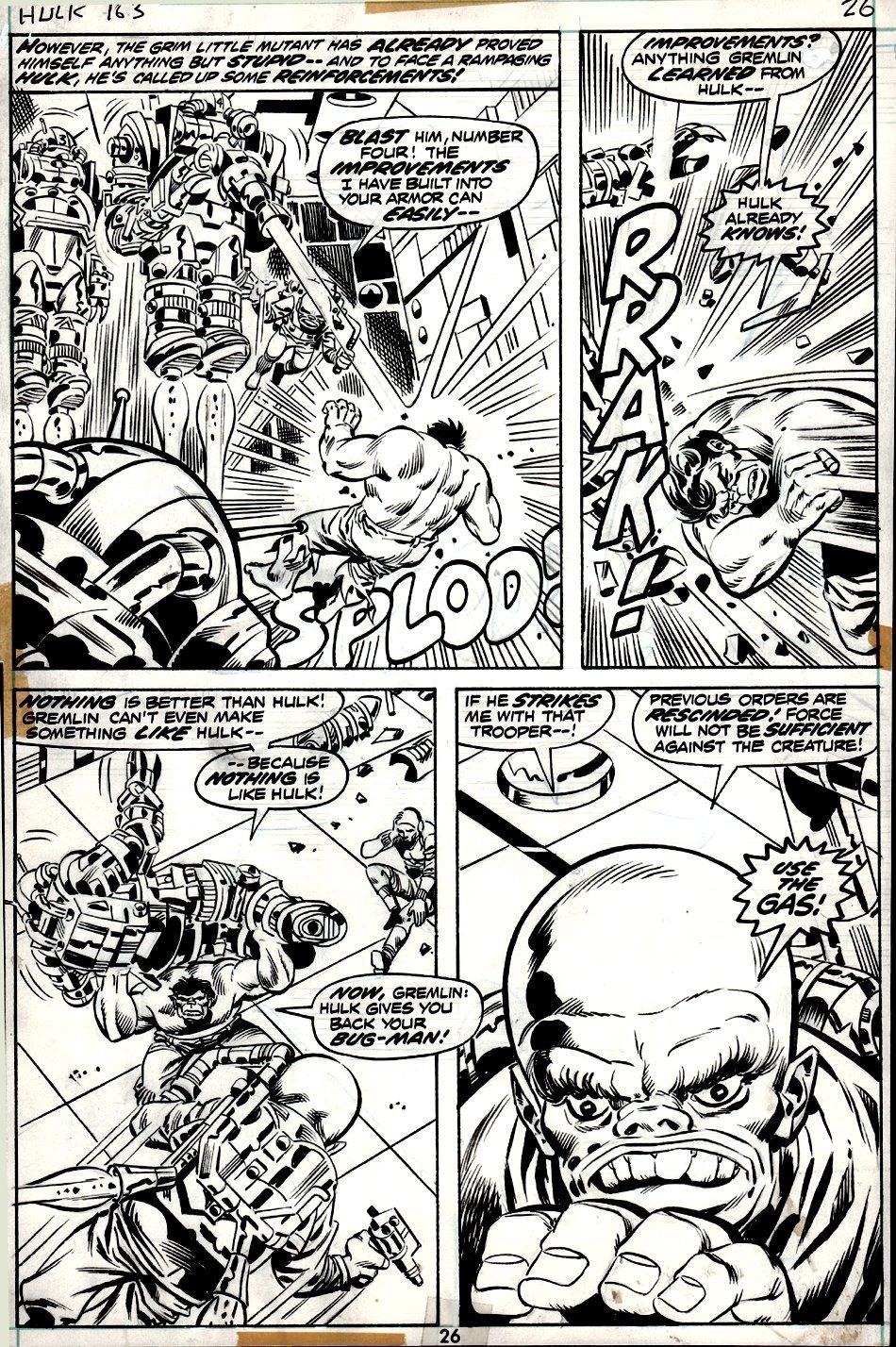 Incredible Hulk #163 p 26 (4 PANEL BATTLE PAGE!) 1972