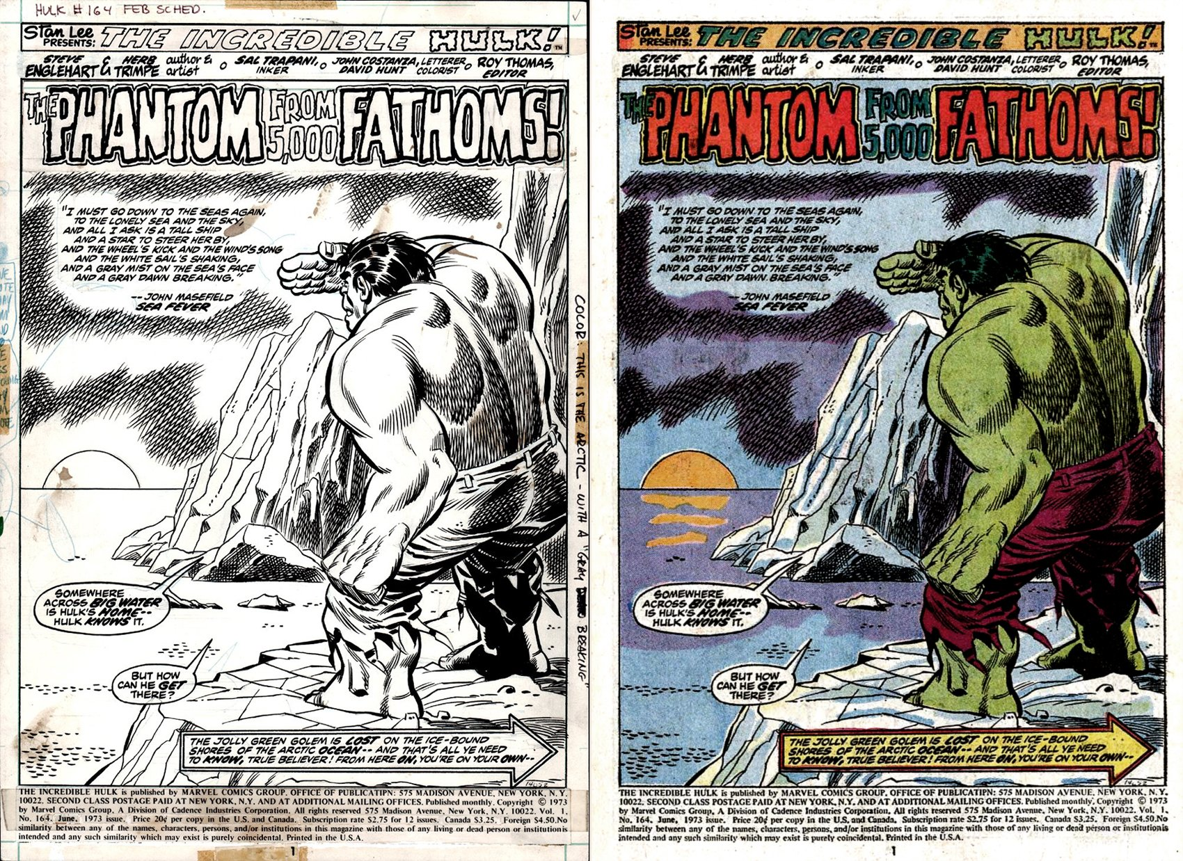 Incredible Hulk #164 p 1 HUGE HULK SPLASH (1973)