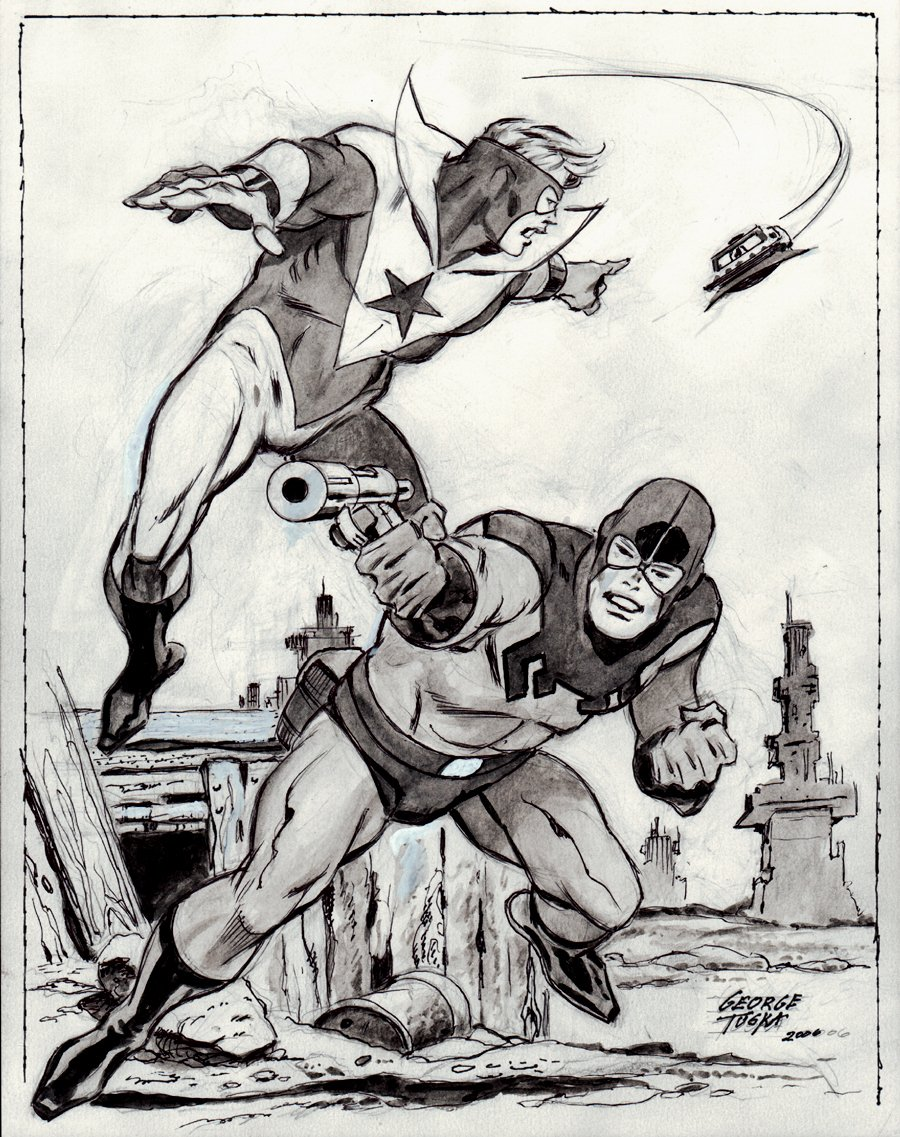 BACK ISSUE #22 - Blue Beetle & Booster Gold Published Pinup (2006)