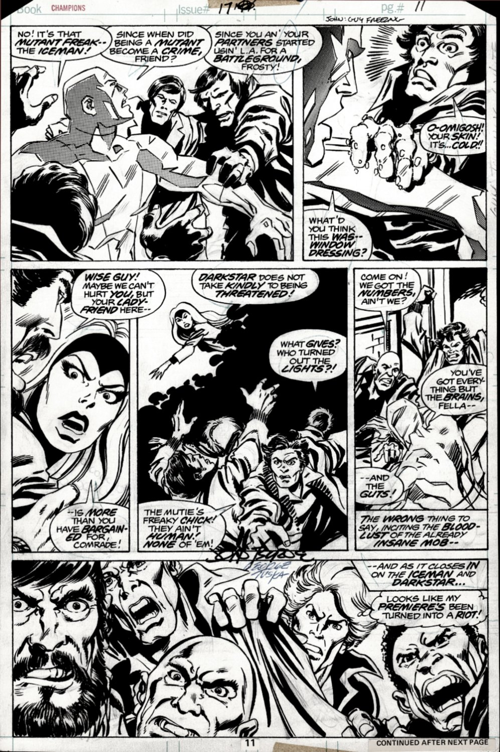 Champions #17 p 11 (Iceman, Darkstar, & Johnny Blaze Attacked By Trump Supporters! JOHN BYRNE INKS!) 1978