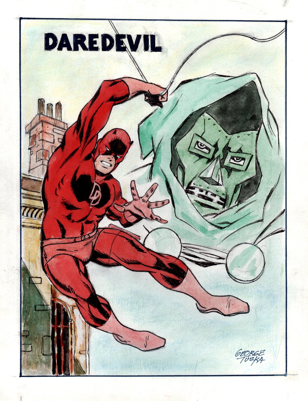 Daredevil & Dr. Doom Penciled, Inked, & Hand Colored Illustration