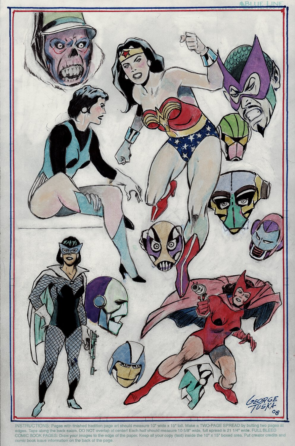 13 Heroes & Villains Pinup (Wonder Woman, Black Widow, Scarlet Witch SHIELD Agent Maria Hill, Red Skull, Mandarin! (2008)