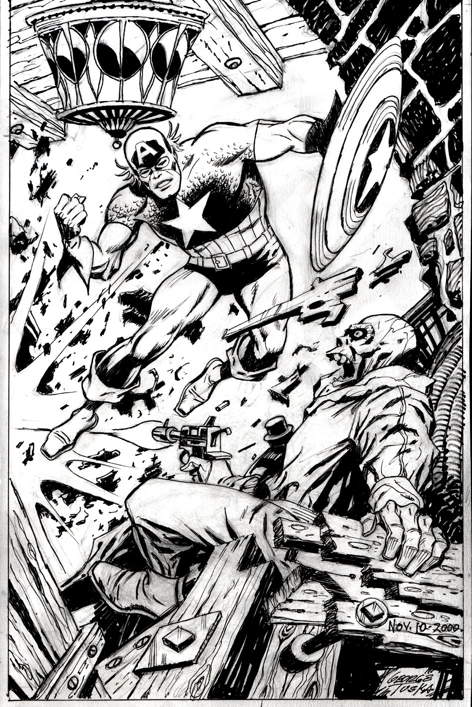 Captain America vs. Red Skull AWESOME Battle Pinup! (2000)