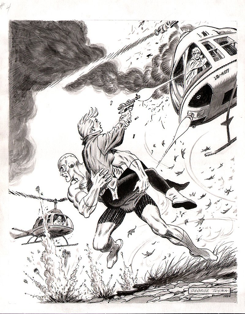 THUNDER Agents Published Portfolio Plate #7: Lightning / Kitten Battle (Large Art) 1986