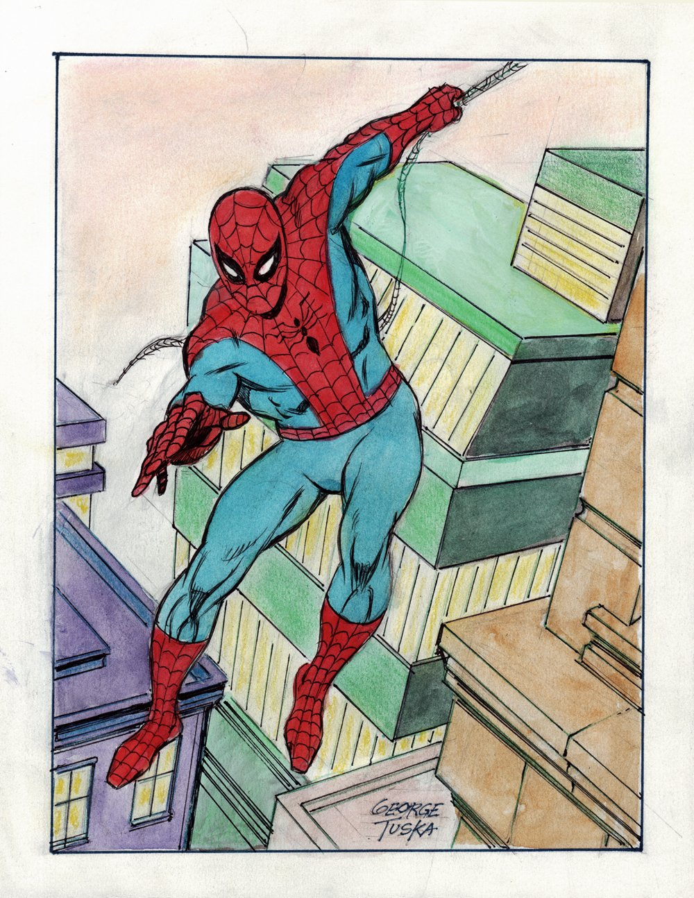 Spider-Man Penciled, Inked, & Hand Colored Illustration