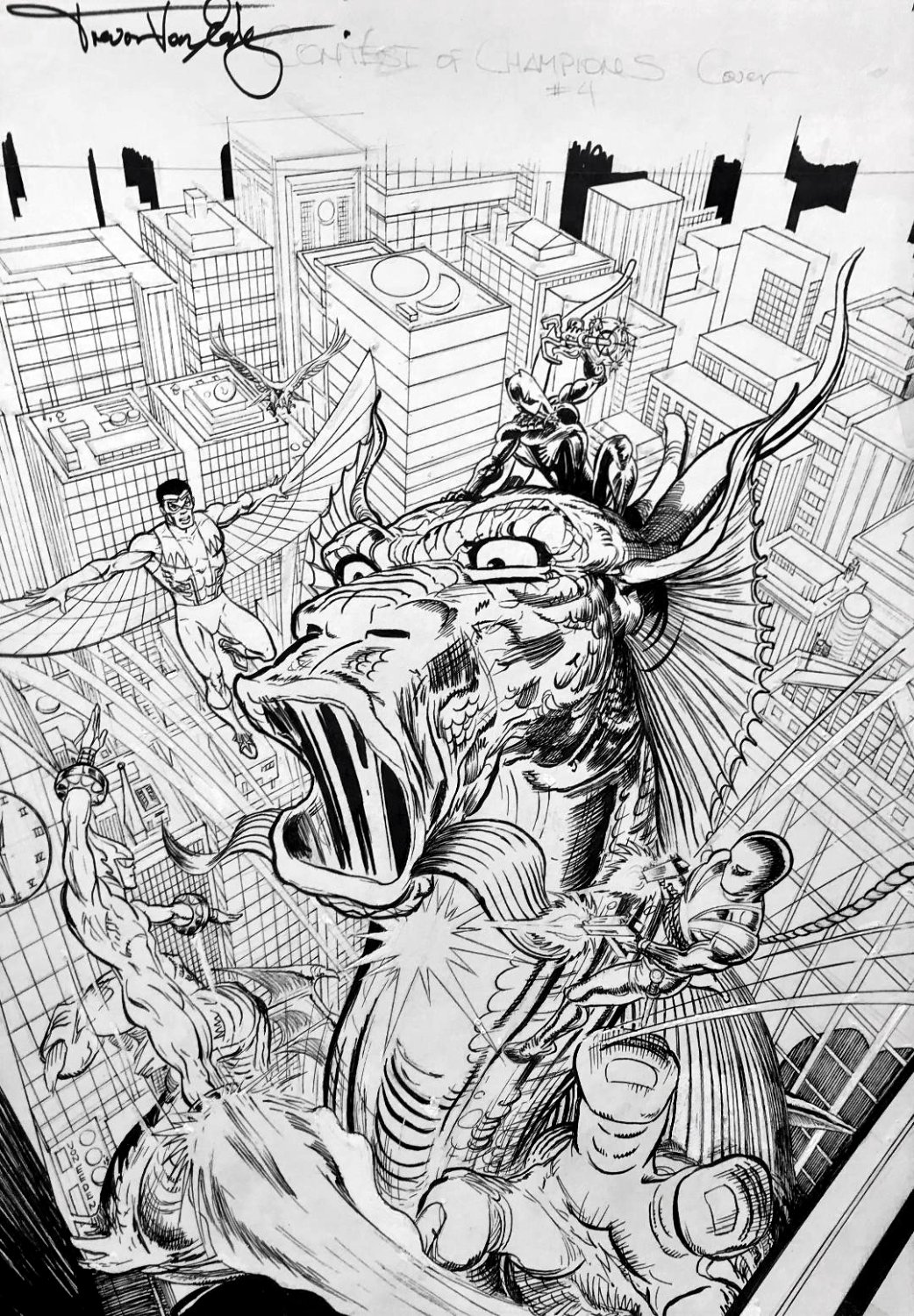 Contest of Champions #4 Cover (Black Panther, Falcon, Torpedo, Union Jack Battling Fin-Fang-Foom!) 2015