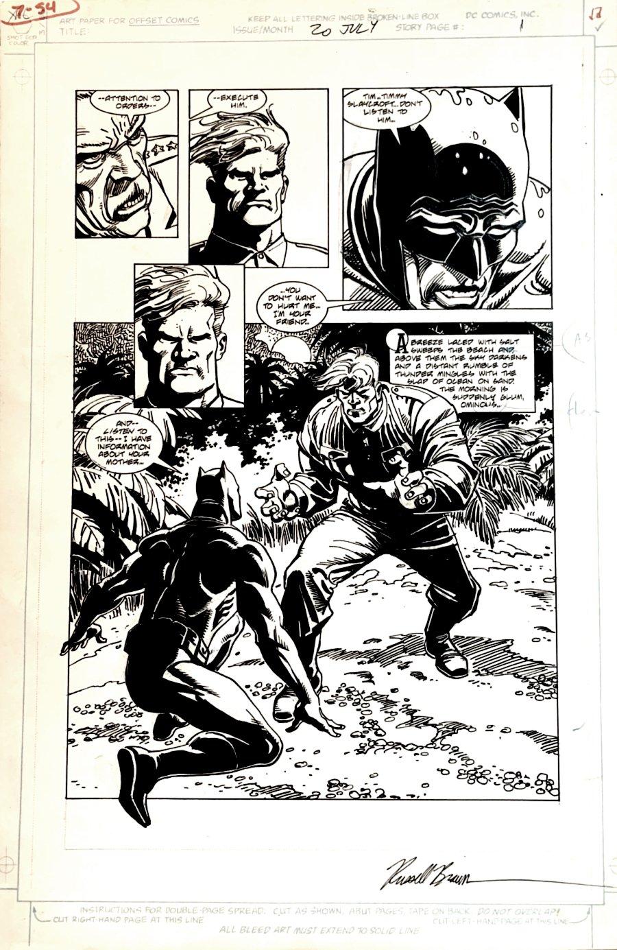 Legends of the Dark Knight #20 p 1 BATTLE SPLASH (Large Art) 1991