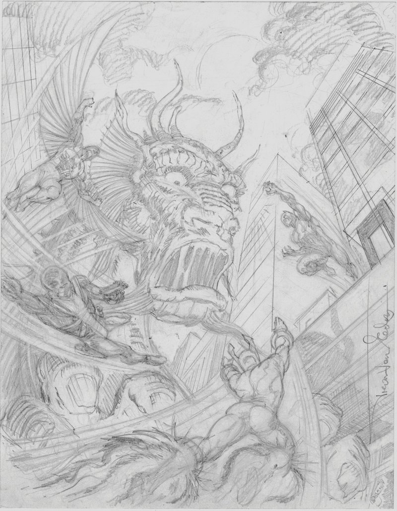 Contest of Champions #4 Cover Prelim (Black Panther, Falcon, Torpedo, Union Jack Battling Fin-Fang-Foom!) 2015