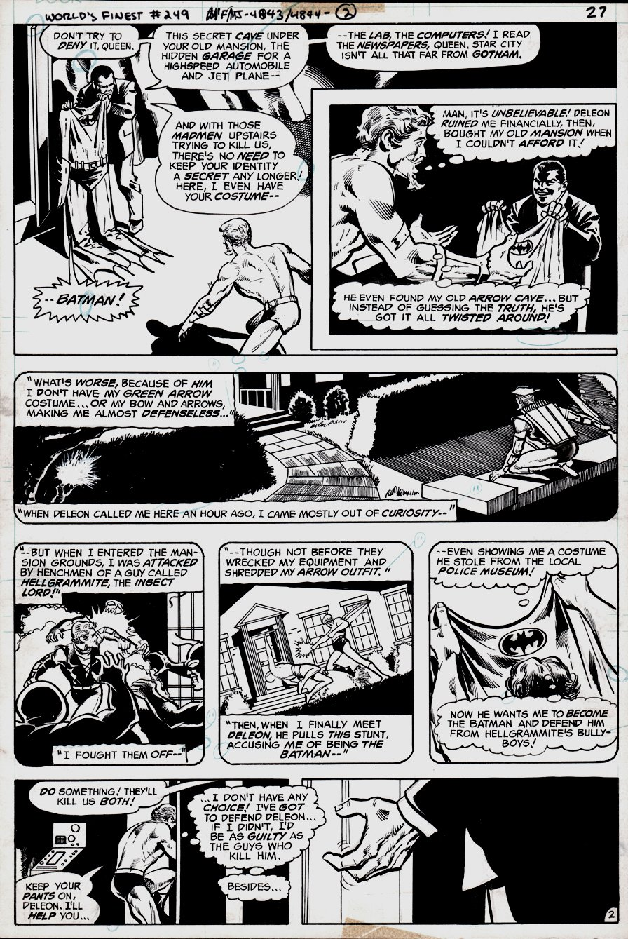 World's Finest Comics #249 p 2 (Green Arrow Wearing Batman Costume?) 1977