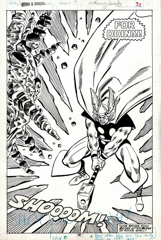 Cloak and Dagger #9 Splash (HUGE THOR SMASHING HIS HAMMER INTO 'ROCK') 1989