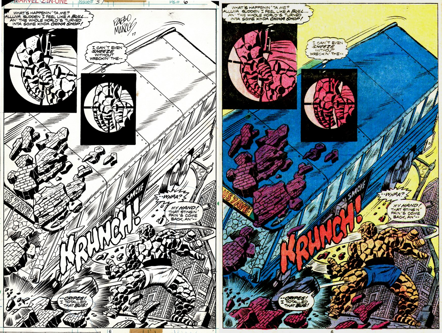 Marvel Two-in-One #37 p 6 SPLASH (THE THING DESTROYS A BUS!) 1977