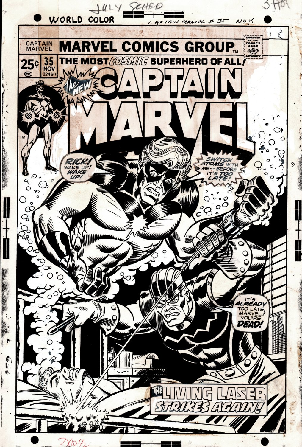 Captain Marvel #35 Cover (Captain Marvel Watches Rick Jones Being Killed By The Living Laser!) 1974