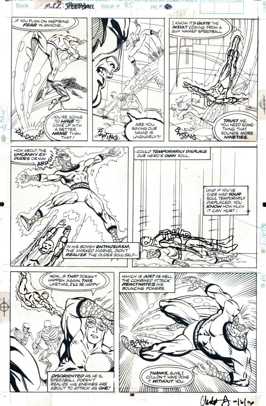 Marvel Comics Presents #85 p 7 (SPEEDBALL Battle Page!) 1991
