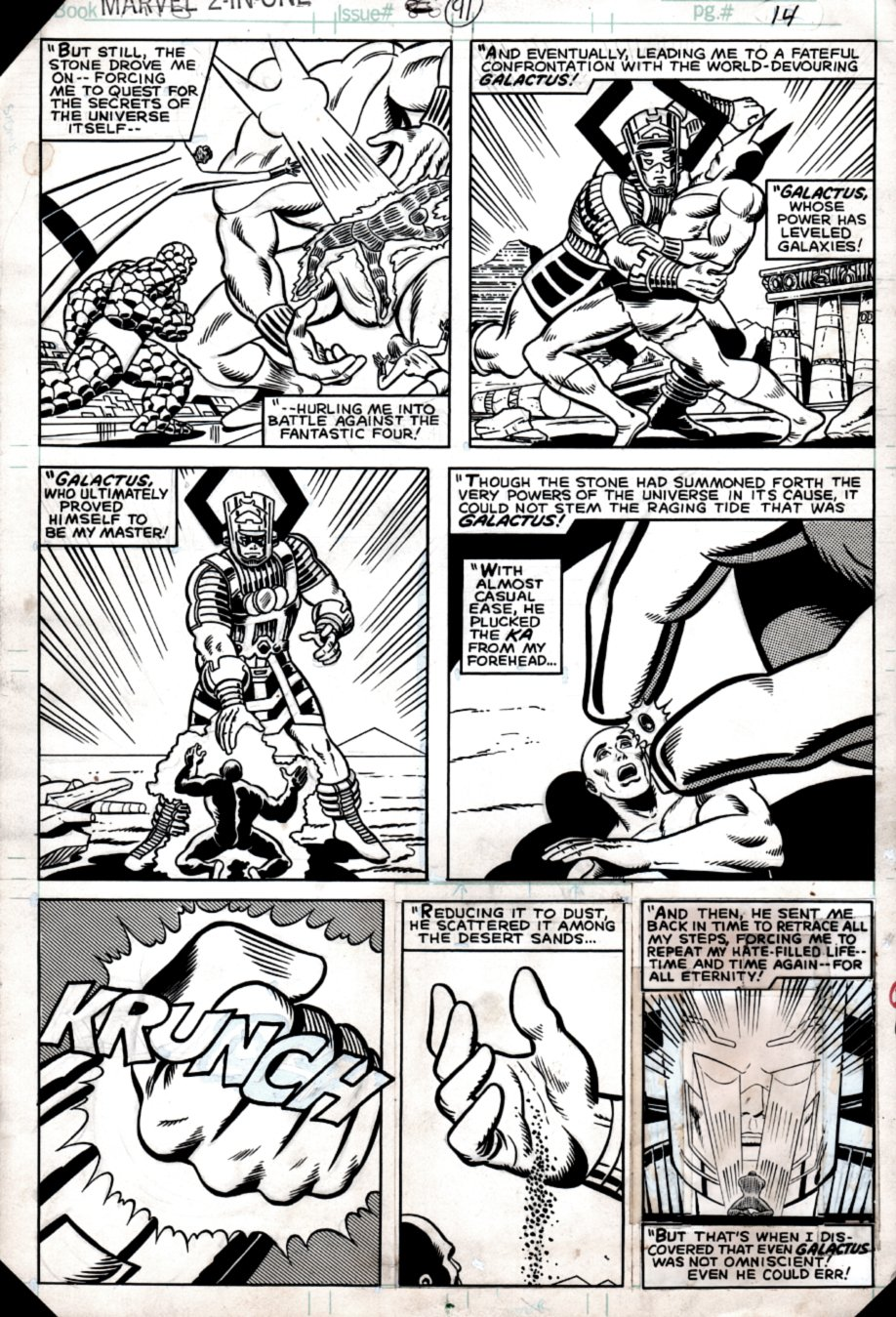 Marvel Two-in-One #91 p 14 (Galactus Vs Sphinx All out Battle!) 1982