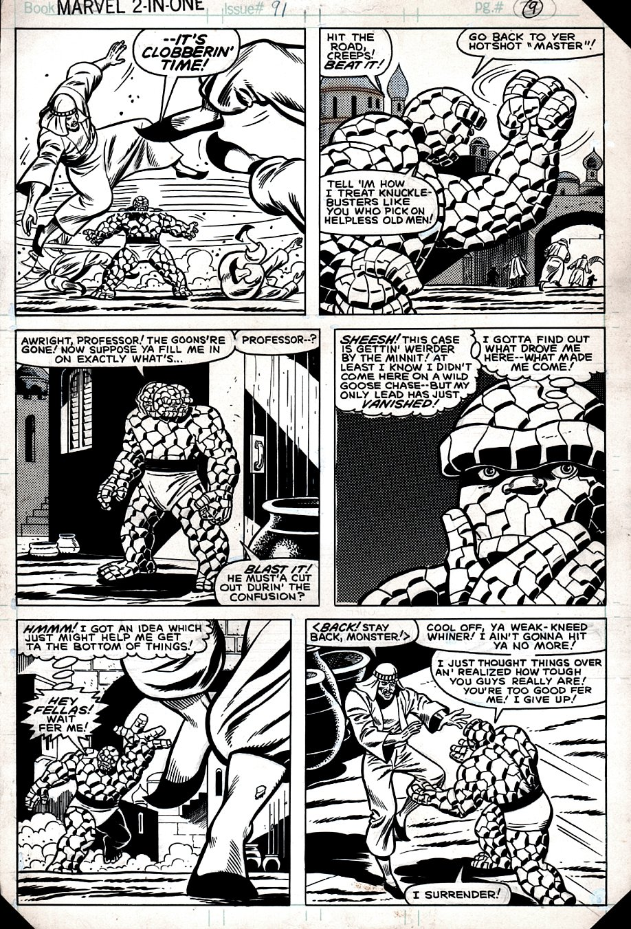 Marvel Two-in-One #91 p 9 (The Thing In Every Panel!) 1982