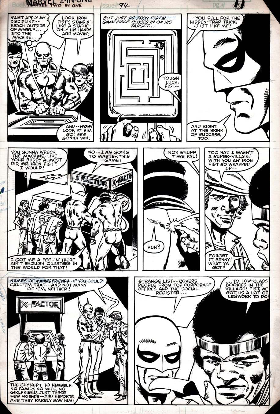 Marvel Two-in-One #94 p 11 (POWERMAN & IRONFIST PLAYING VIDEO GAMEl) 1982