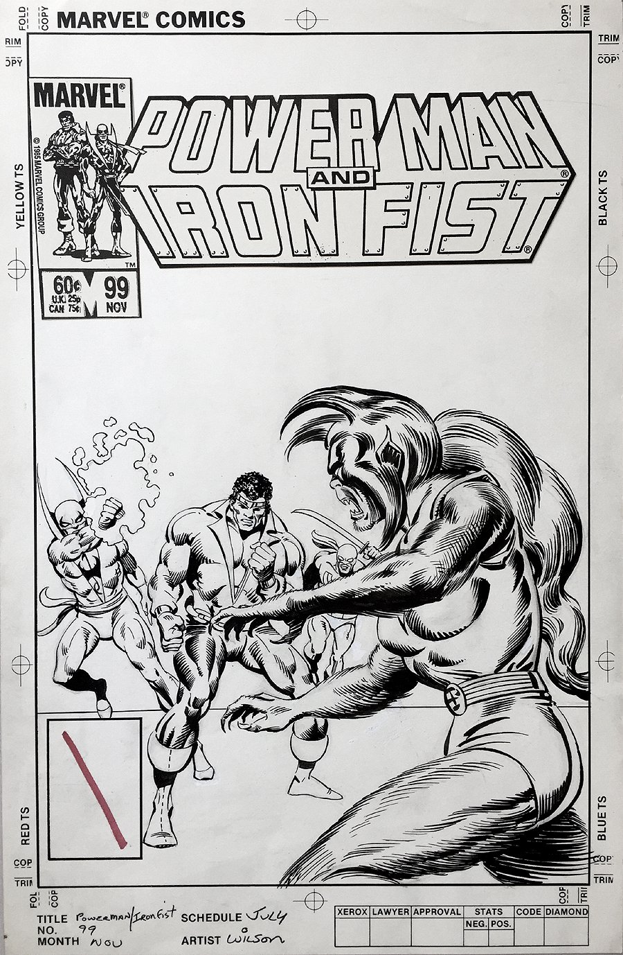 Power Man and Iron Fist #99 Un-Used Cover (1983)