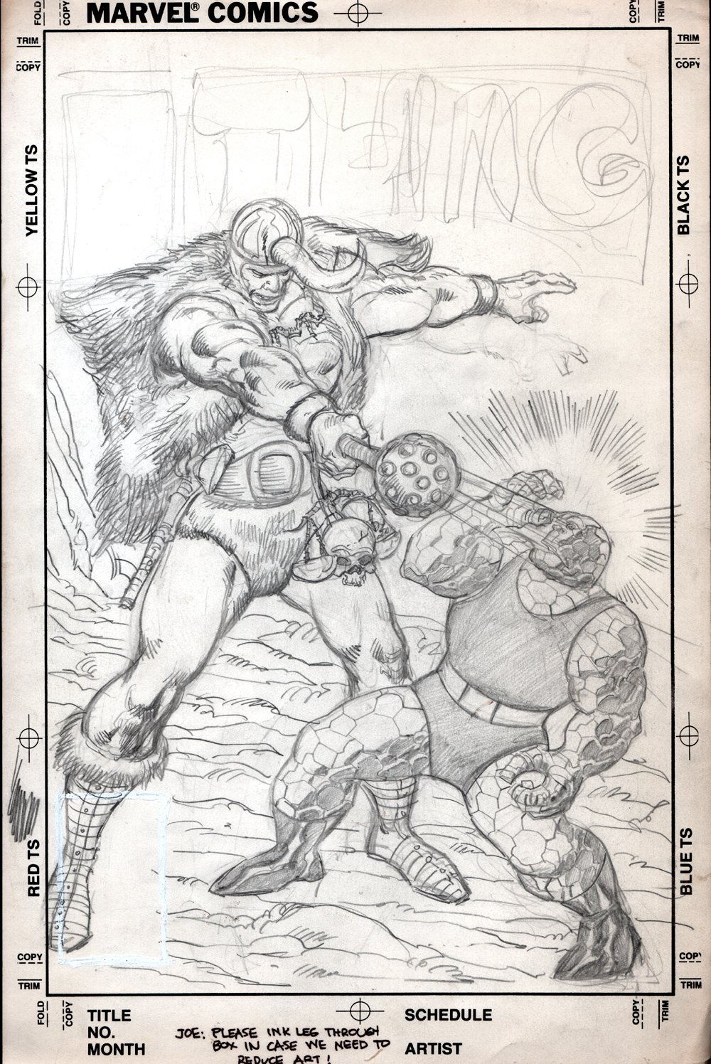 The Thing #17 Fully Penciled Cover (The Thing Vs The Rekoner!) 1984
