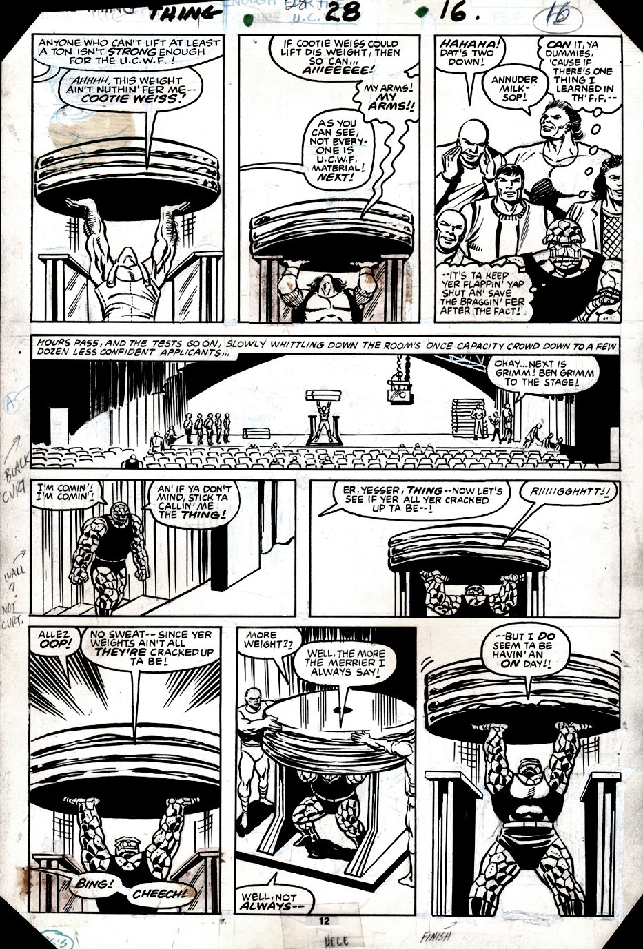 The Thing #28 p 12 (THING IN 6 PANELS LIFTING WEIGHTS!) 1985