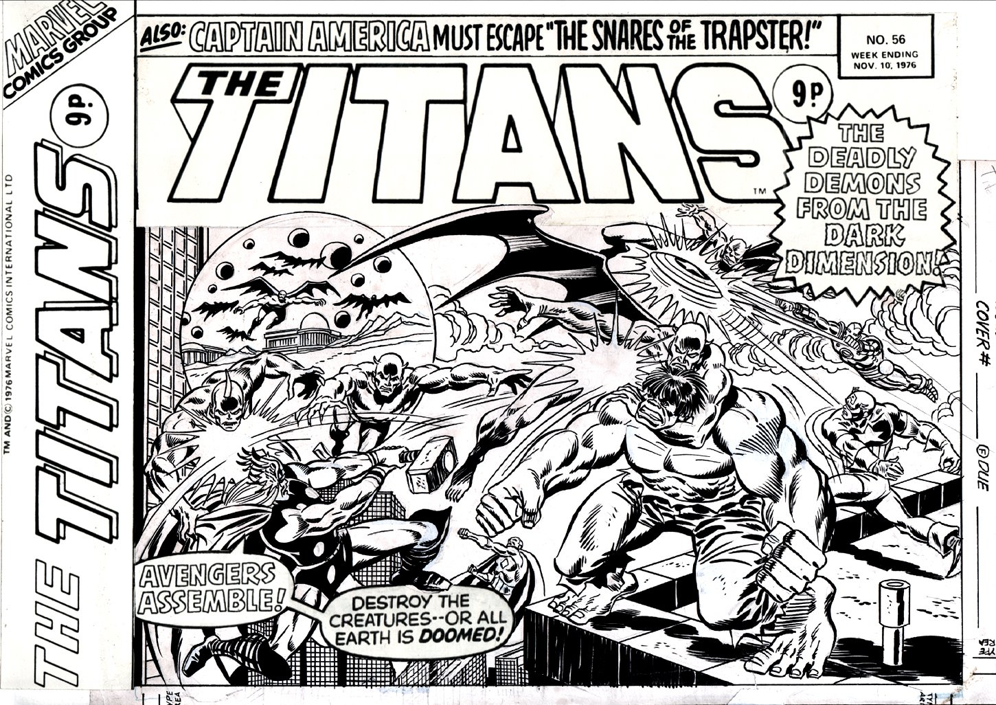 The Titans #56 Cover (AVENGERS #100 Cover Homage & Story!) 1976