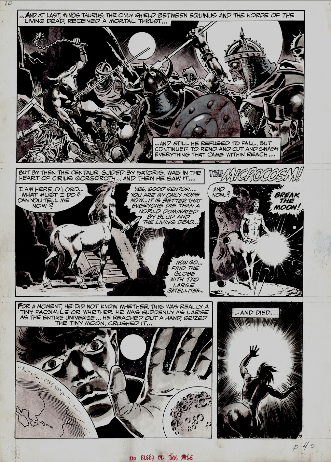 Creepy #41 p 10 (LARGE ART WASH-TONE ALL WOOD DRAWN FANTASY BATTLE PAGE!) 1971