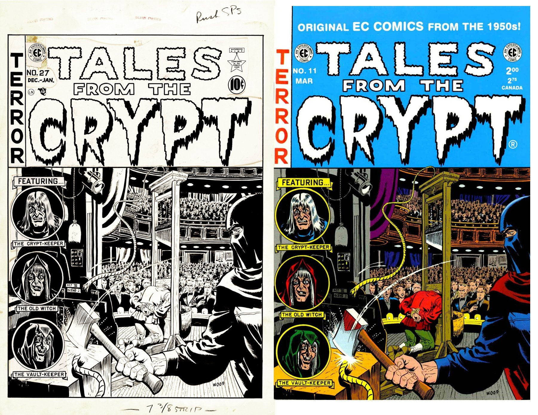 Tales from the Crypt #27 Cover (EXECUTIONER AND GUILLOTINE CROWD SCENE! WOW!) Large Art - 1951