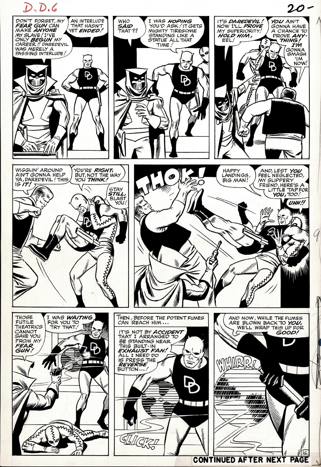 Daredevil #6 p 16 (GREAT WALLY WOOD PENCILED & INKED ALL DD BATTLE!) Large Art - 1964