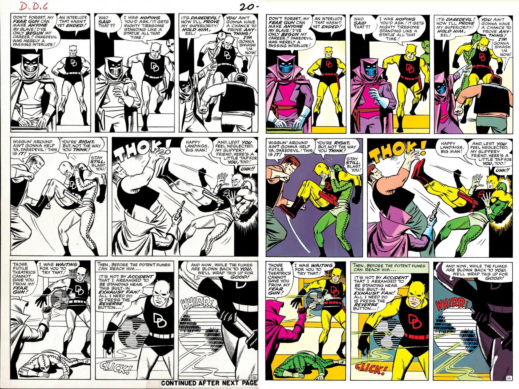 Daredevil #6 p 16 (GREAT WALLY WOOD PENCILED & INKED ENFORCERS BATTLE!) Large Art - 1964