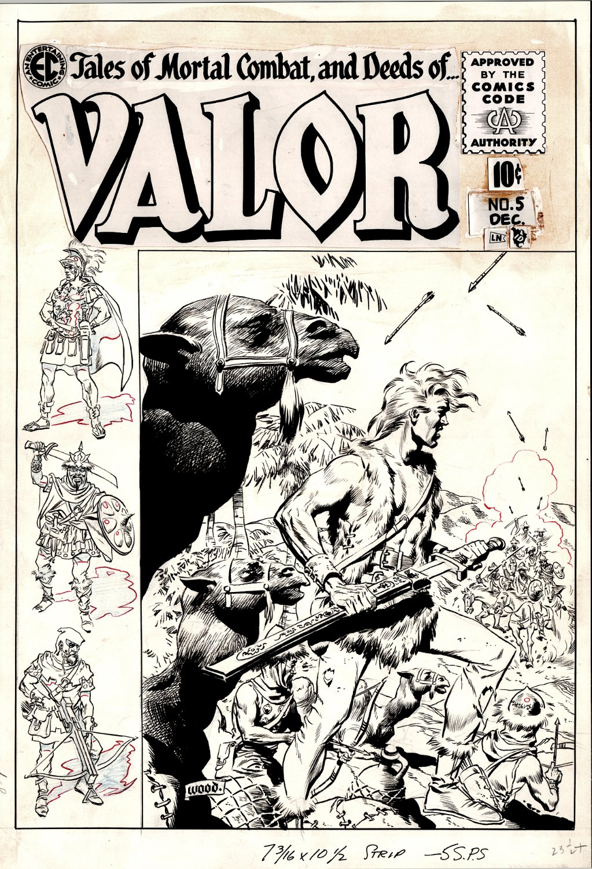 Valor #5 Cover (Stunning Asian Battle Scene & All Drawn Left Border Area Also!) Large Art - 1955